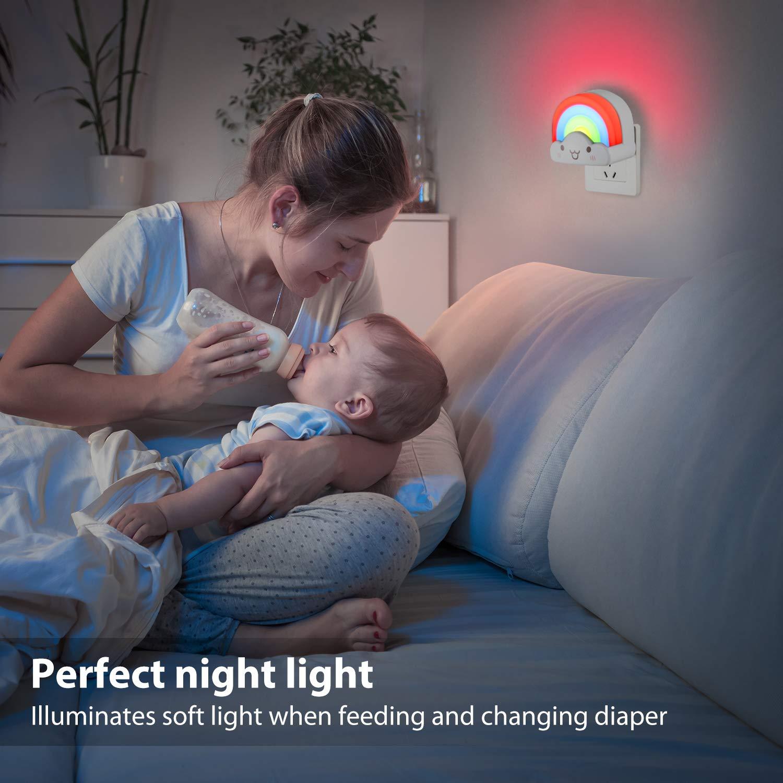 Baby Night Light Plug in Wall OxyLED Kids Bedside LED Night Lamp Rainbow Toddler Nursery Nightlight with Voice Light Sensor