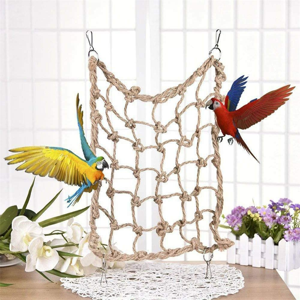 LQKYWNA Pet Parrot Bird Climbing Net Cage Swing Toy Hanging Hammock Thicken Hemp Rope Macaw Play Gym Chew Bite Toys for Bird Explore Home Garden Decorative Accessories
