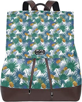 Leather Pineapples Gold Backpack Daypack Bag Women