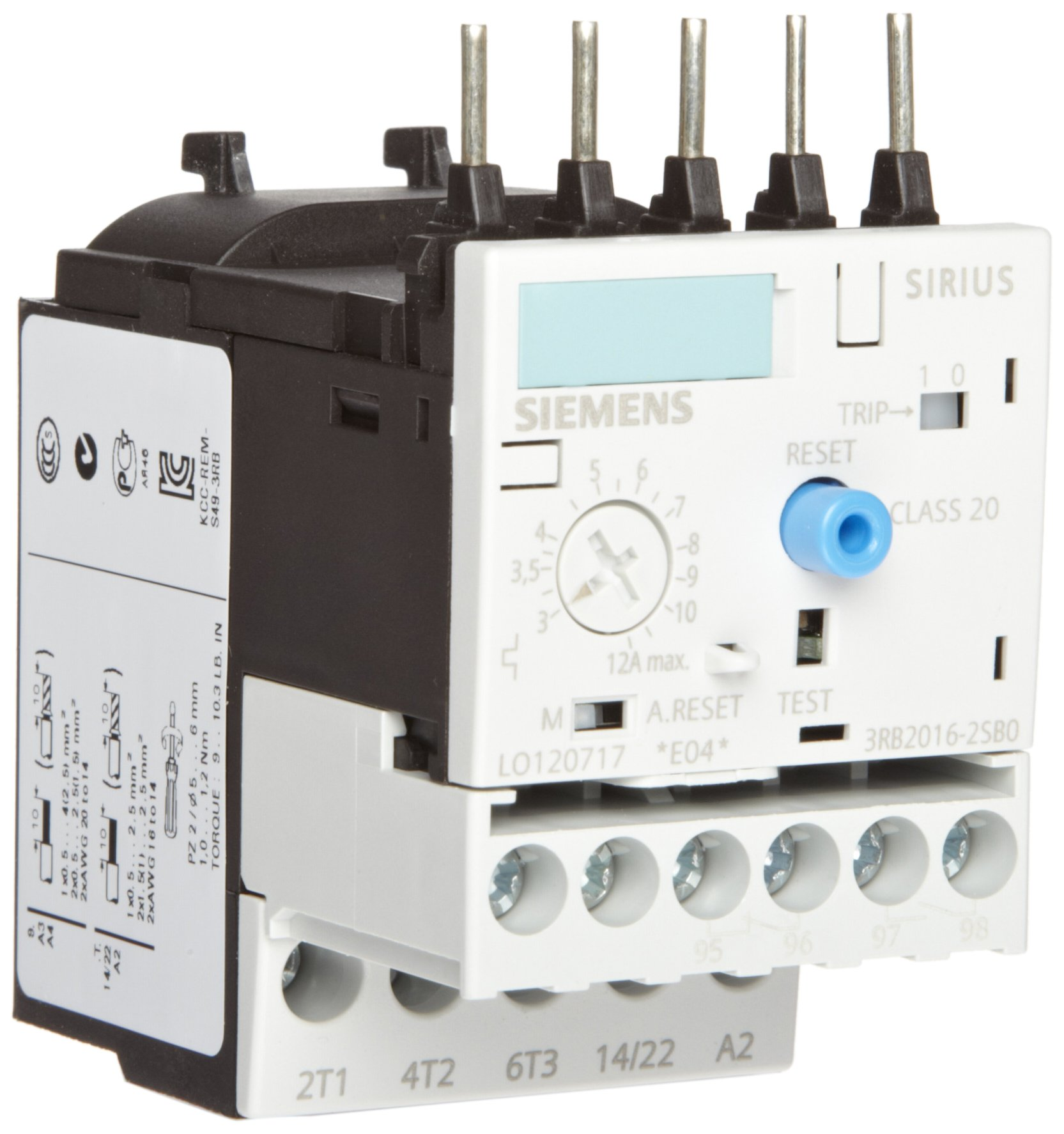 Siemens 3RB20 16- 2SB0 Solid State Overload Relay, Class 20, S00 Contactor Size, 3-12A Set Current Value