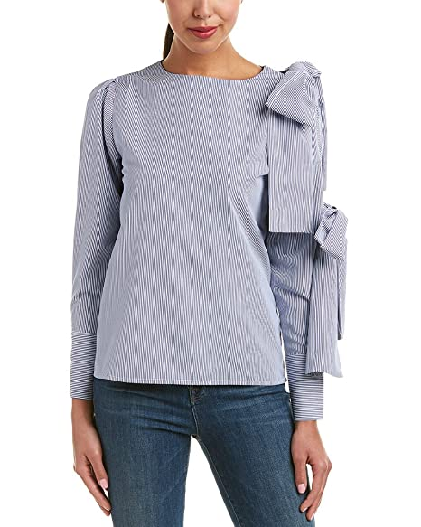 b70bf773e Amazon.com: Haute Rogue, Women's Shirt Pam Tie Long Sleeve Blouse, Blue and  White Pattern, Small: Everything Else