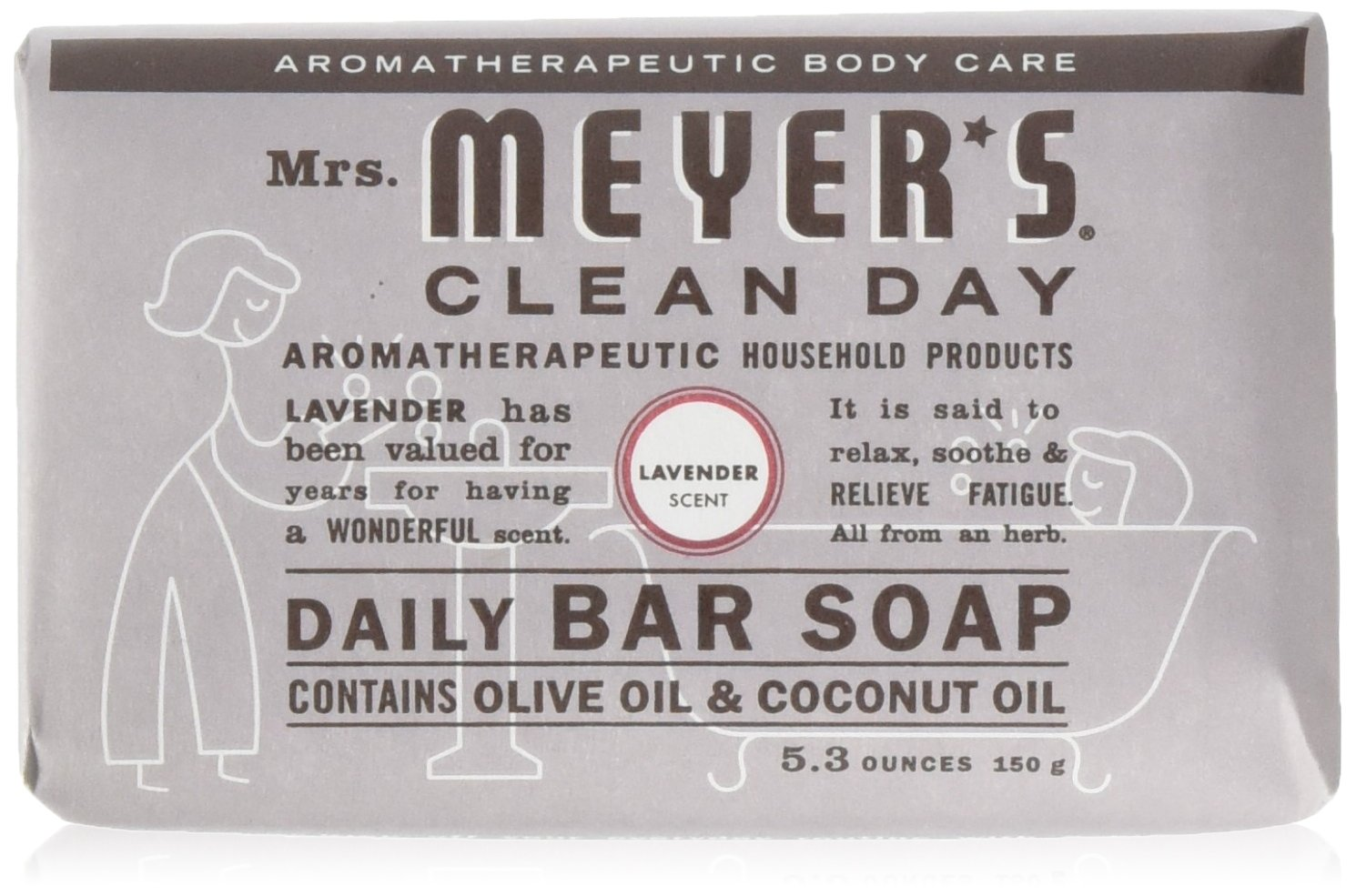 Mrs Meyers Bar Soap Hard 5.3oz Lavender Scent (12 pack) Mrs. Meyers SHOMALVI2831