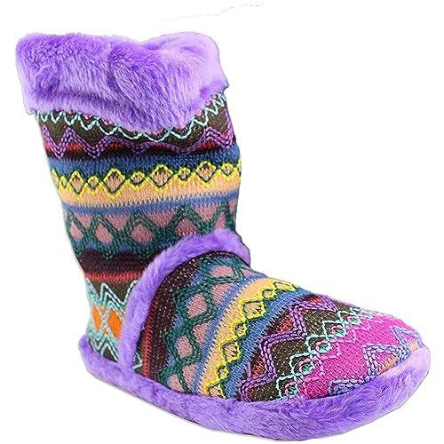 619905bcb31ba Amazon.com | Blazin Roxx Women's Zig Zag Boot Slippers, White ...