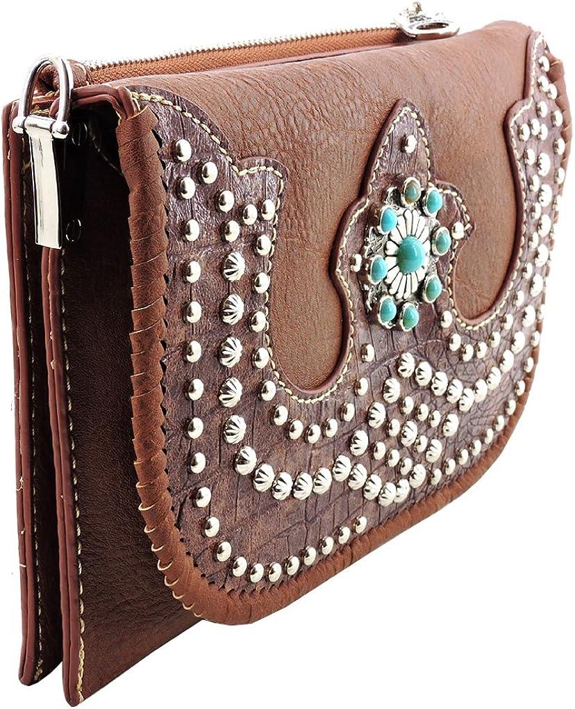 American Bling Clutch Crossbody Shoulder Handbag Built in Wallet