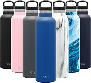 Simple Modern 24oz Ascent Water Bottle - Hydro Vacuum Insulated Tumbler Flask w/Handle Lid - Blue Double Wall Stainless Steel Reusable - Leakproof: -Twilight