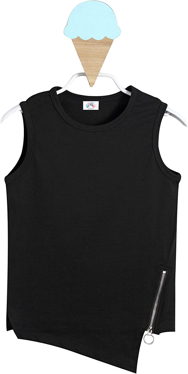 Dada And Mama Printing Cotton Baby Girls Asymmetrical Sleeveless