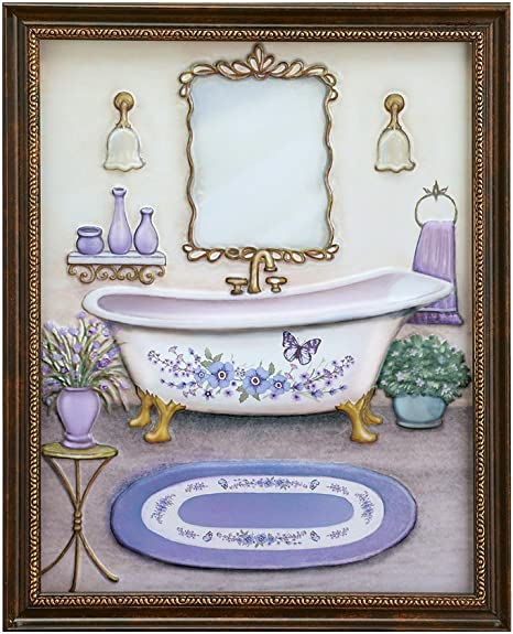 Amazon Com Collections Etc Lavender Bathroom Framed Wall Art Decoration Posters Prints