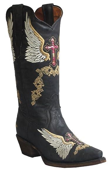 Soto Boot's Women's Vegas Vaquera Black Leather Cowboy Boots