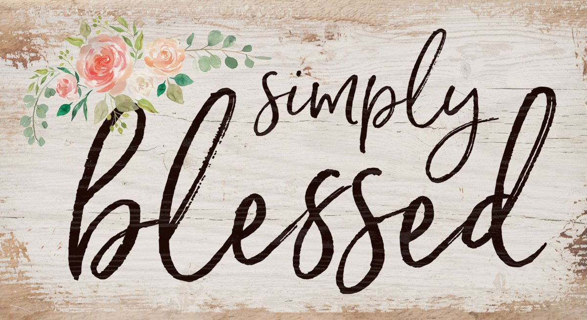 P. Graham Dunn Simply Blessed Floral Whitewash 5.5 x 10 Solid Wood Plank Wall Plaque Sign