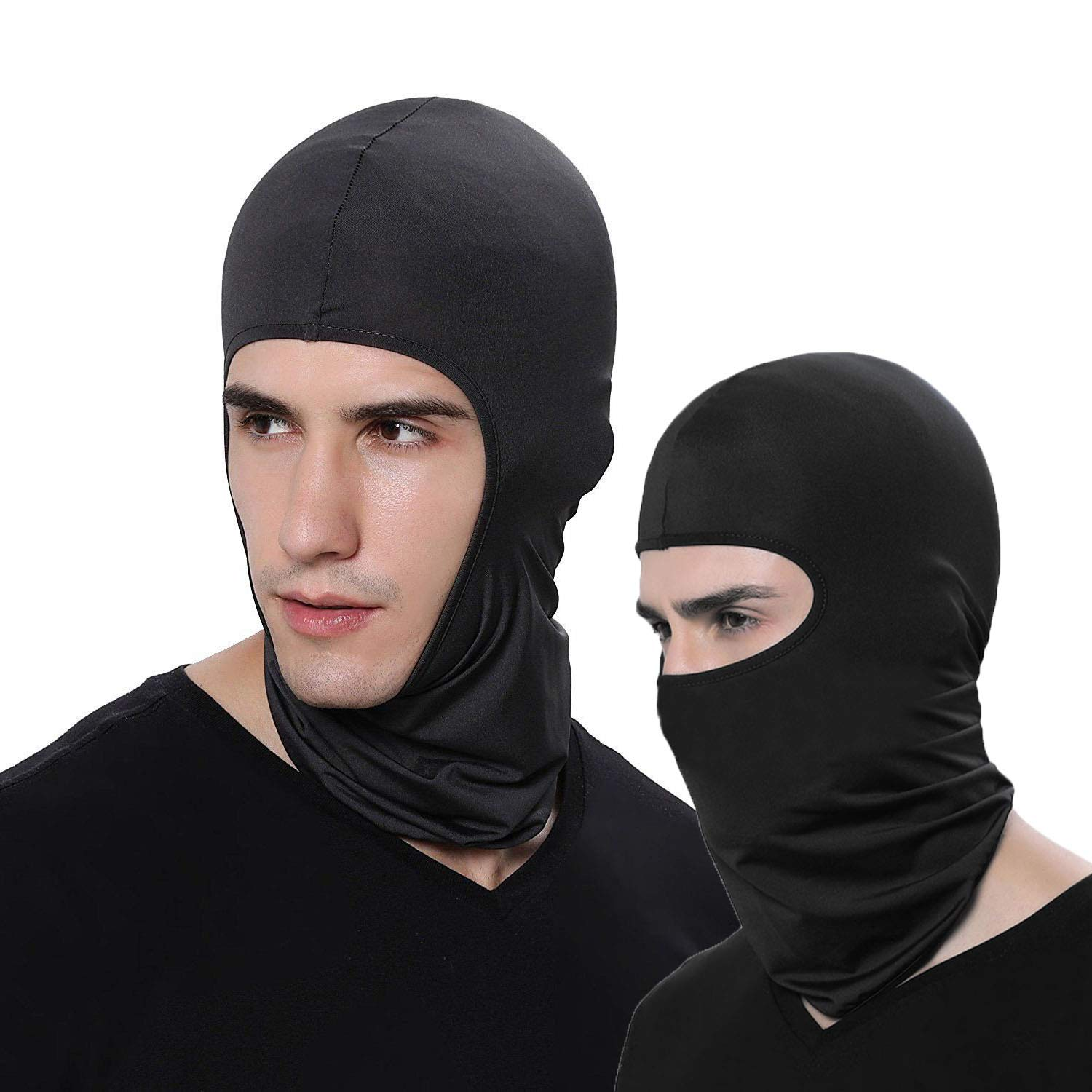 LEAGY 2Pack Candy Color Ultradünne Ski-Gesichtsmaske Ideal unter einem Fahrrad Warme Sturmhaube, Skimütze Sturmhaube Skullies Mützen (Schwarz)