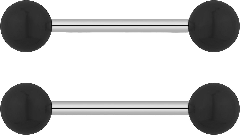 14g 16mm White Howlite Natural Semi PRECIOUS Stone Barbell Tongue Ring Nipple Ring Nipple Barbell 6mm Ends 316L Steel Bar