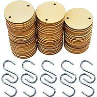 160 Pieces Wooden Tags, Bantoye 80 Pcs Wooden Discs Tags Holes 80 Pcs S Hook Connectors, Great Artcrafts Ornaments
