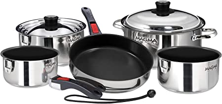 Magma Products, A10-366-2-IND Gourmet Nesting Stainless Steel Induction Cookware Set with Non-Stick Ceramica 10 Piece