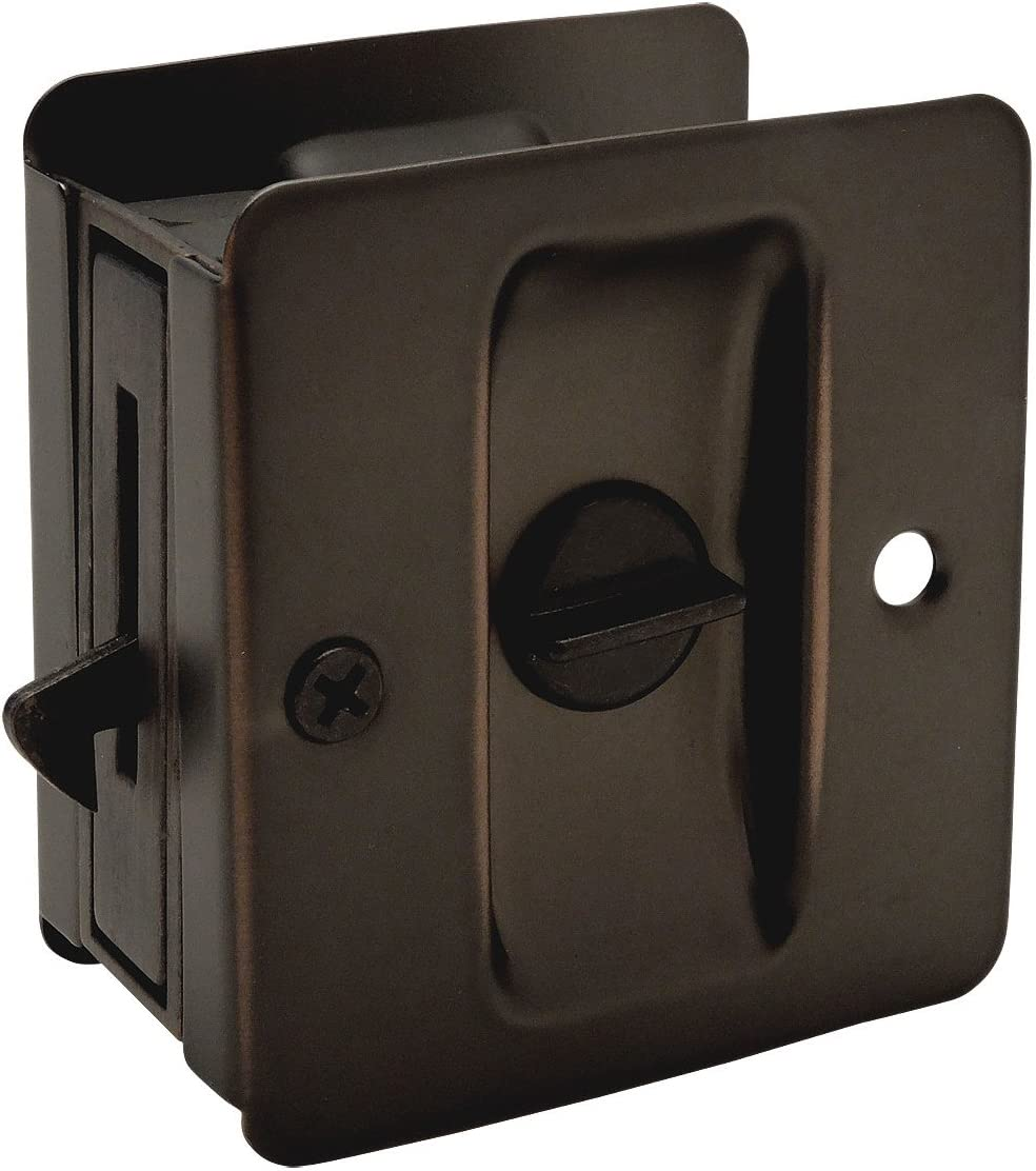 Designers Impressions Oil Rubbed Bronze Pocket Door Privacy Lock : 53843