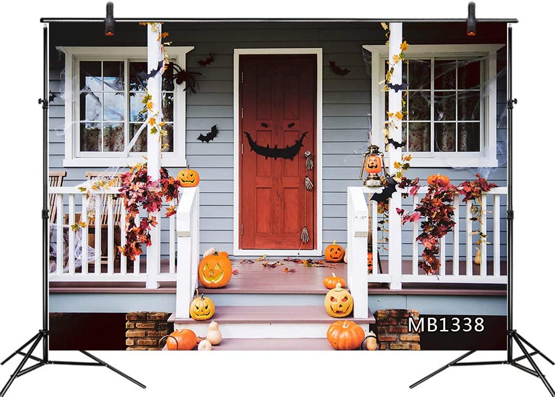 LB 10x8ft Halloween Backdrops for Photography House Decorated with Pumpkin Maple Leaves Black Bat Spider Web Background for Pictures Party Supplies Banner Portraits Photo Booth Shoot Props