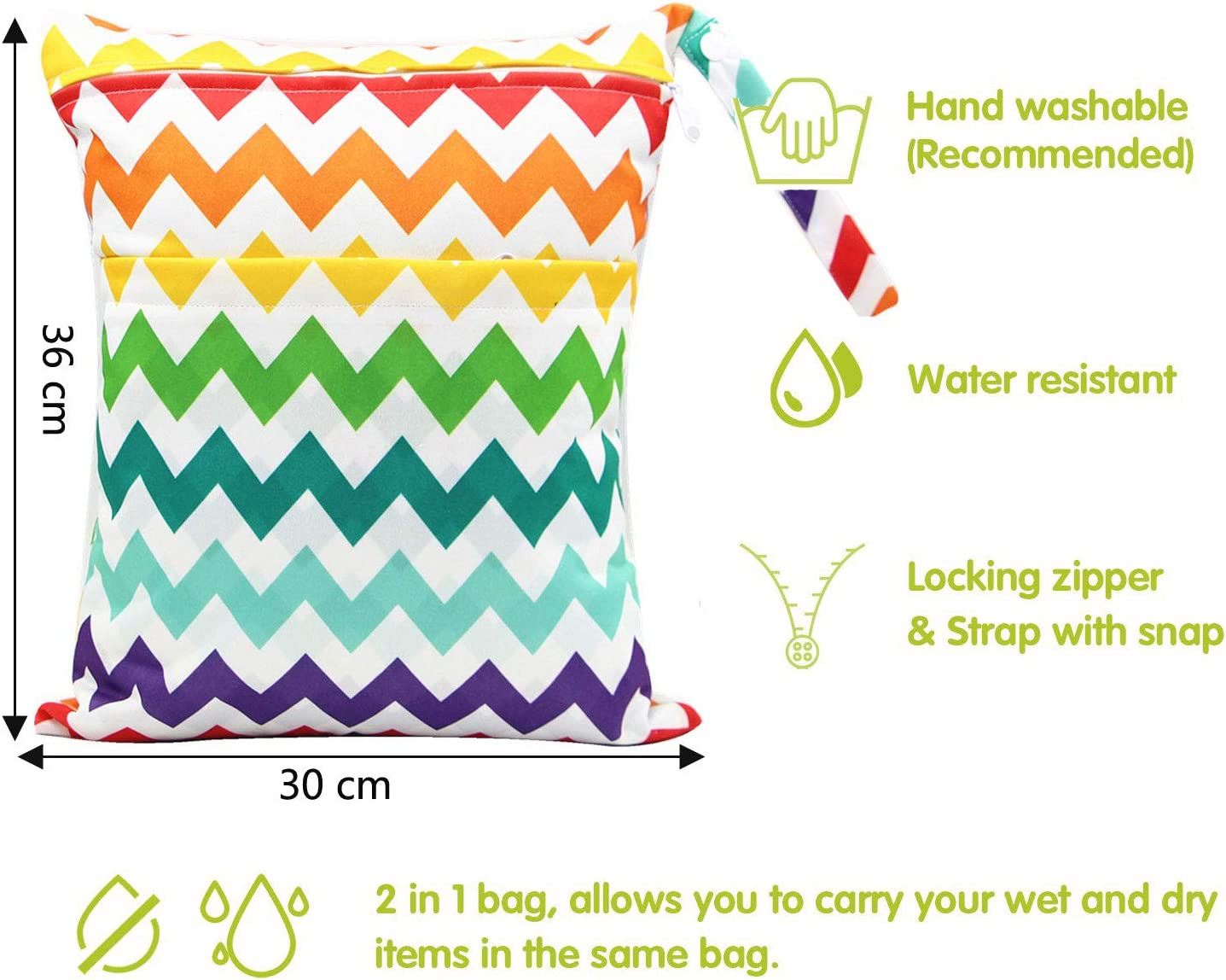 Pool Yoga,Gym Bag for Swimsuits /& Wet Clothes With 2 Zippered Pockets ALINK 2 Pack Wet Dry Bags for Baby Cloth Diapers Elephant Washable Travel Bags Beach