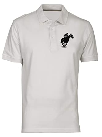 Polo por Hombre Blanco WES0608 Giant Big Horse Racing Jockey ...