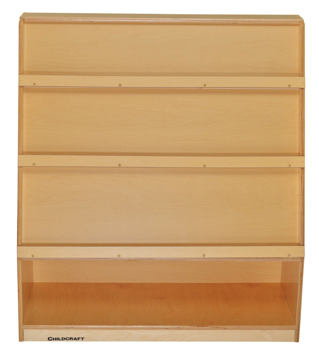 Childcraft 204146 Multi-Storage Book Mobile with 3 Shelves, Birch Veneer Panel, Acrylic, 36'' x 14-1/2'' x 40-13/16'', Natural Wood Tone