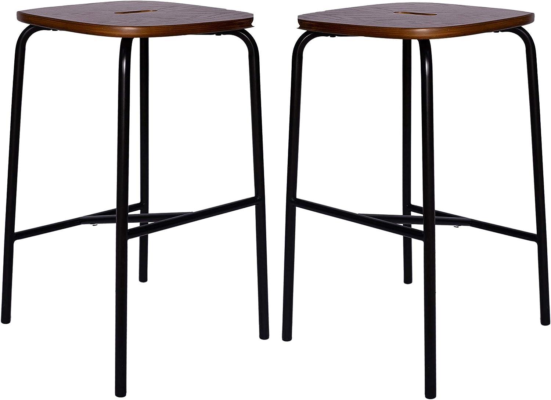 Amazon Brand – Ravenna Home Caleb Square Barstool with Metal Legs, Set of 2, 24