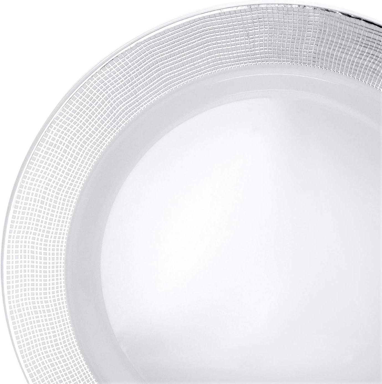 OCCASIONS 240 Plates Pack,(120 Guests) Heavyweight Wedding Party Disposable Plastic Plates Set -120 x 10.5\'\' Dinner + 120 x 7.5\'\' Salad/Dessert (Linen White/Silver) 71Hjrpm9u8L