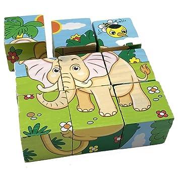 Tiere Block Puzzle 3D-Puzzles Kleinkind Spielzeug Puzzles aus Holz Puzzles