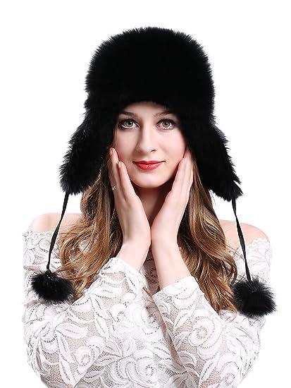 b12641af7 LITHER Women's Winter Trapper Hat Genuine Fox Raccoon Fur Russian Ushanka  Hat