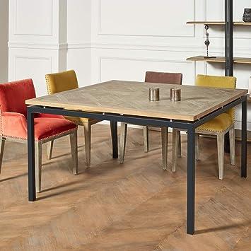 Robin Des Bois Table Carree Chene Massif Pieds Metal Zazie