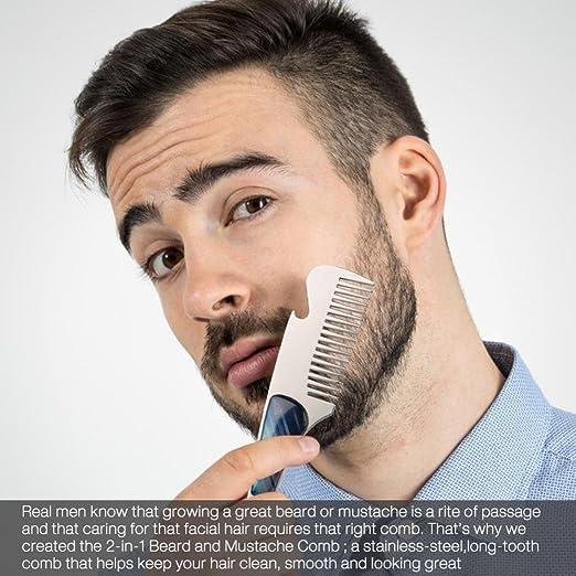 Peine Barba de Acero Inoxidable peine Pelo Peinado para Barba Cabello,portátil del bigote de la herramienta abridor de botellas de la herramienta del bigote ...