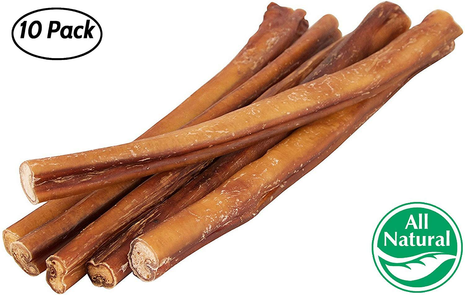12'' Straight Bully Sticks for Dogs [LARGE THICKNESS] (10 Pack) - All Natural & Odorless Bully Bones | Long Lasting Chew Dental Treats | Best Thick Bullie Sticks for K9 or Puppies | Grass-Fed Beef