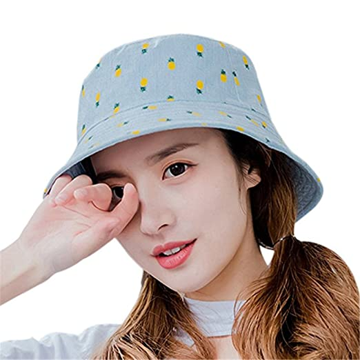 54428d7a70f YHBAO Women s Pineapple UV Protection Sun Hats Packable Bucket Hat for  Outdoor (Baby Blue) at Amazon Women s Clothing store