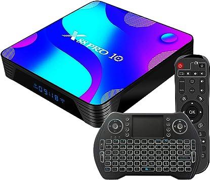 Android 10.0 TV Box 4GB 64GB Decodificador Smart TV Box RK3318 USB 3.0 1080P ultra HD 4K HDR WiFi 2.4GHz 5.8GHz BT 4.1 Reproductor Multimedia de Transmisión con Mini Teclado Inalámbrico Retroiluminado:
