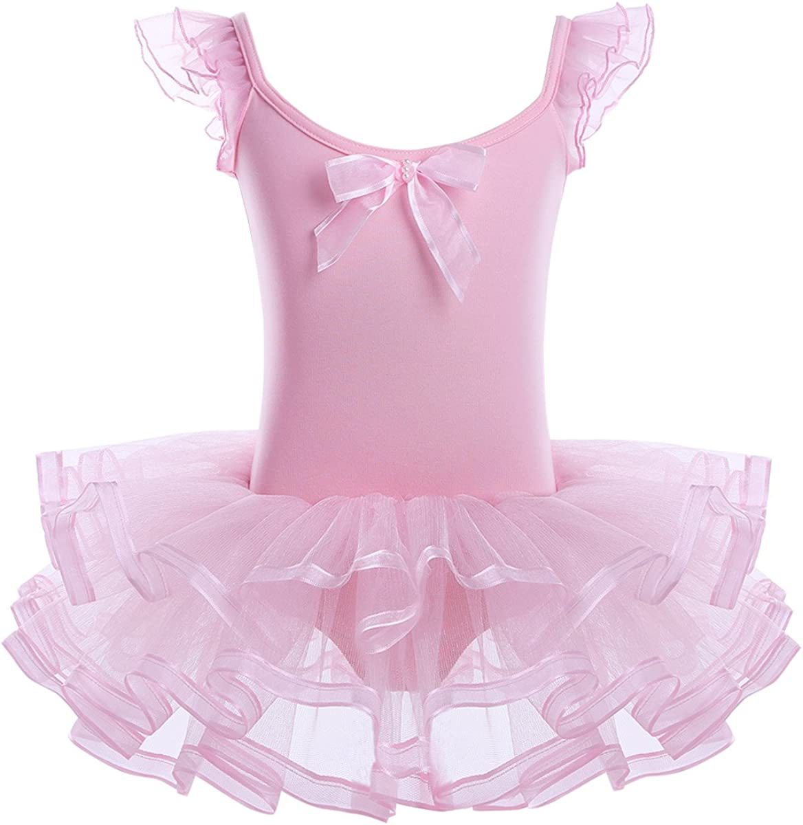 iEFiEL Girls Princess Ruffle/Cap Sleeves Ballet Dance Gymnastics Tutu Leotard Dress Ballerina Dancewear