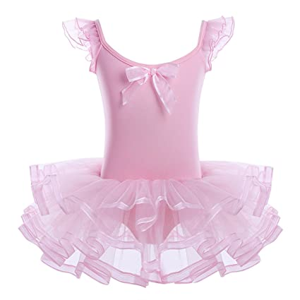e15c25d8b3471 FEESHOW Girls Ruffle Sleeve Ballet Tutu Dress Gymnastic Leotard with Skirt Dance  Costumes Pink 2-