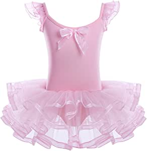 TiaoBug Girls' Camisole Ballet Leotard Dress Ruffled Sleeve Tutu Skirted Ballerina Dance Costumes