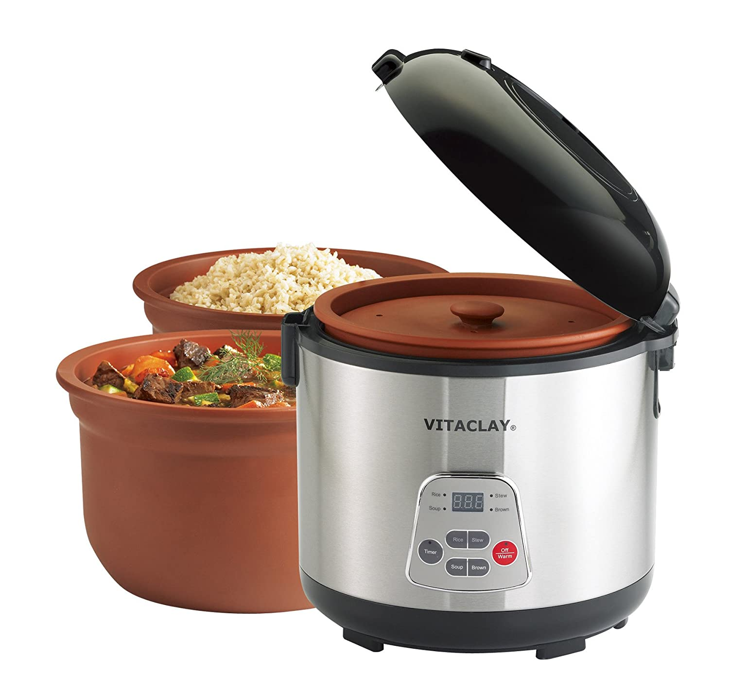 com vitaclay vf chef gourmet cup rice and slow com vitaclay vf7700 8 chef gourmet 8 cup rice and slow cooker clay crock pot kitchen dining