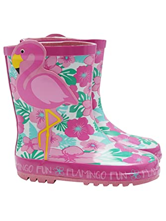 64297e0d4 M&Co Kids Girls Pink Flamingo Tropical Floral Print Wellington Boots Pink  Uk7 Eur24