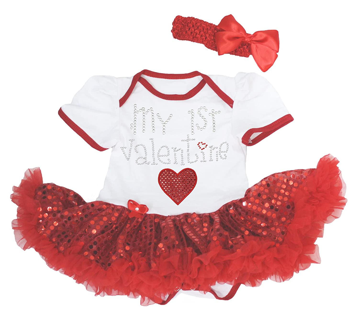 Petitebella My 1st Valentine Baby Dress White Bodysuit Red Sequin Tutu Romper