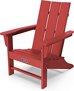 SERWALL Adirondack Chair Modern Back Contemporary Patio Chairs Lawn Chair Outdoor Chairs Painted Weather Resistant- Red