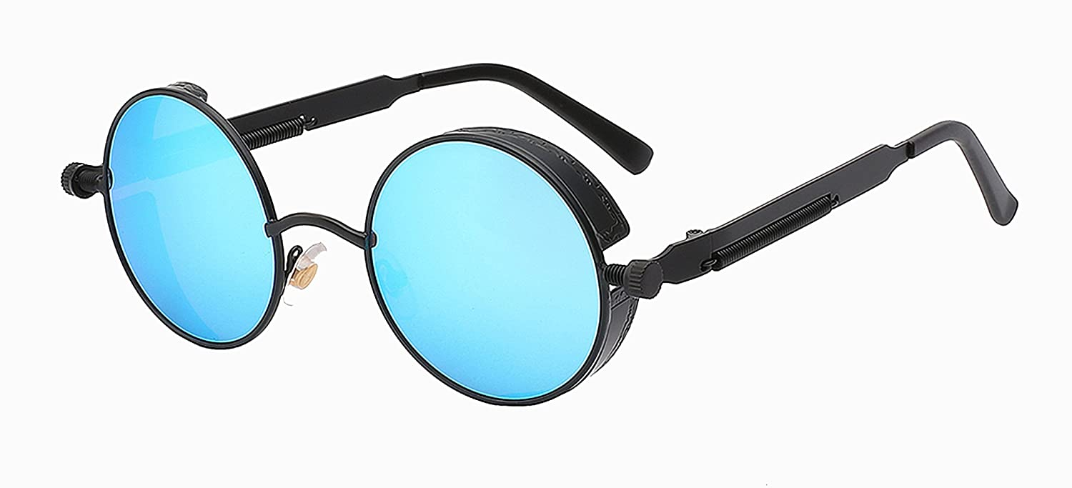 Amazon.com: Mens Sunglasses Coating Mirrored Round Circle ...