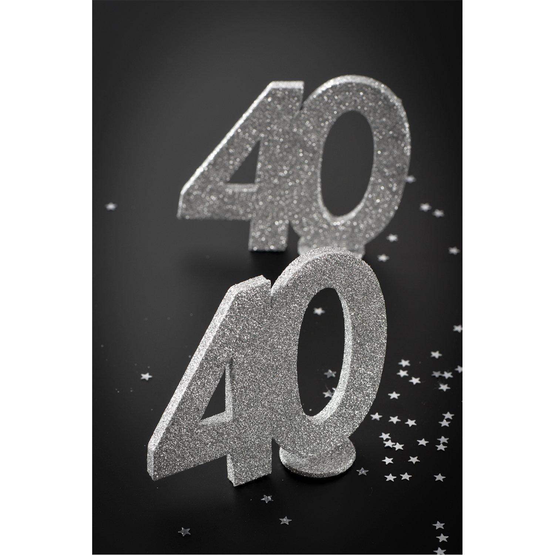 cama24com XXL Tischdeko Zahl 60 Geburtstag Silber Glitzer 1 St/ück Party-Deko Palandi/®