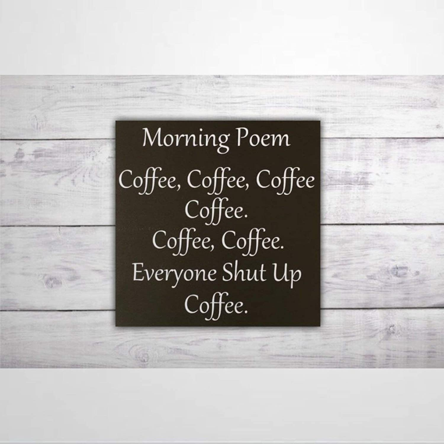 BYRON HOYLE Morning Coffee Poem Wood Sign,Wooden Wall Hanging Art,Inspirational Farmhouse Wall Plaque,Rustic Home Decor for Living Room,Nursery,Bedroom,Porch,Gallery Wall