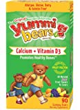 Yummi Bears Vegetarian Calcium + Vitamin D3 Gummy Vitamin Supplement for Kids, 90 Gummy Bears