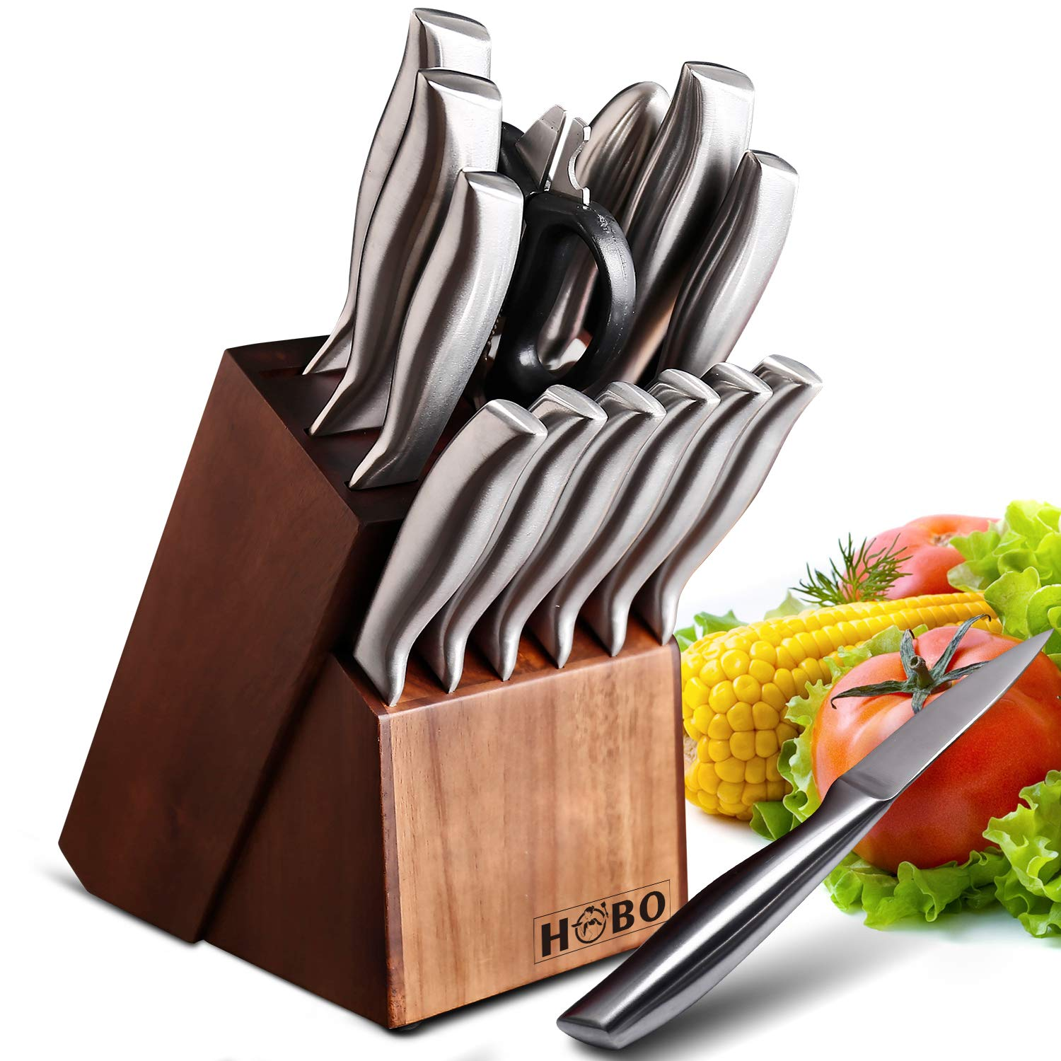 HOBO 2019 Kitchen 14-Piece German Professional Chef Knife Set with Wooden Block, Premium Anti-Rust Cutlery Scissors and Sharpener, Silver by HOBO