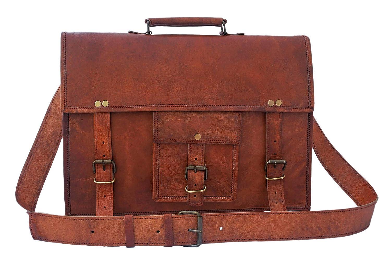 15 inch Genuine Leather Messenger Bag - Crossbody Laptop Satchel by Rustic Town PNR Crafts Pvt Ltd SHS151104KR