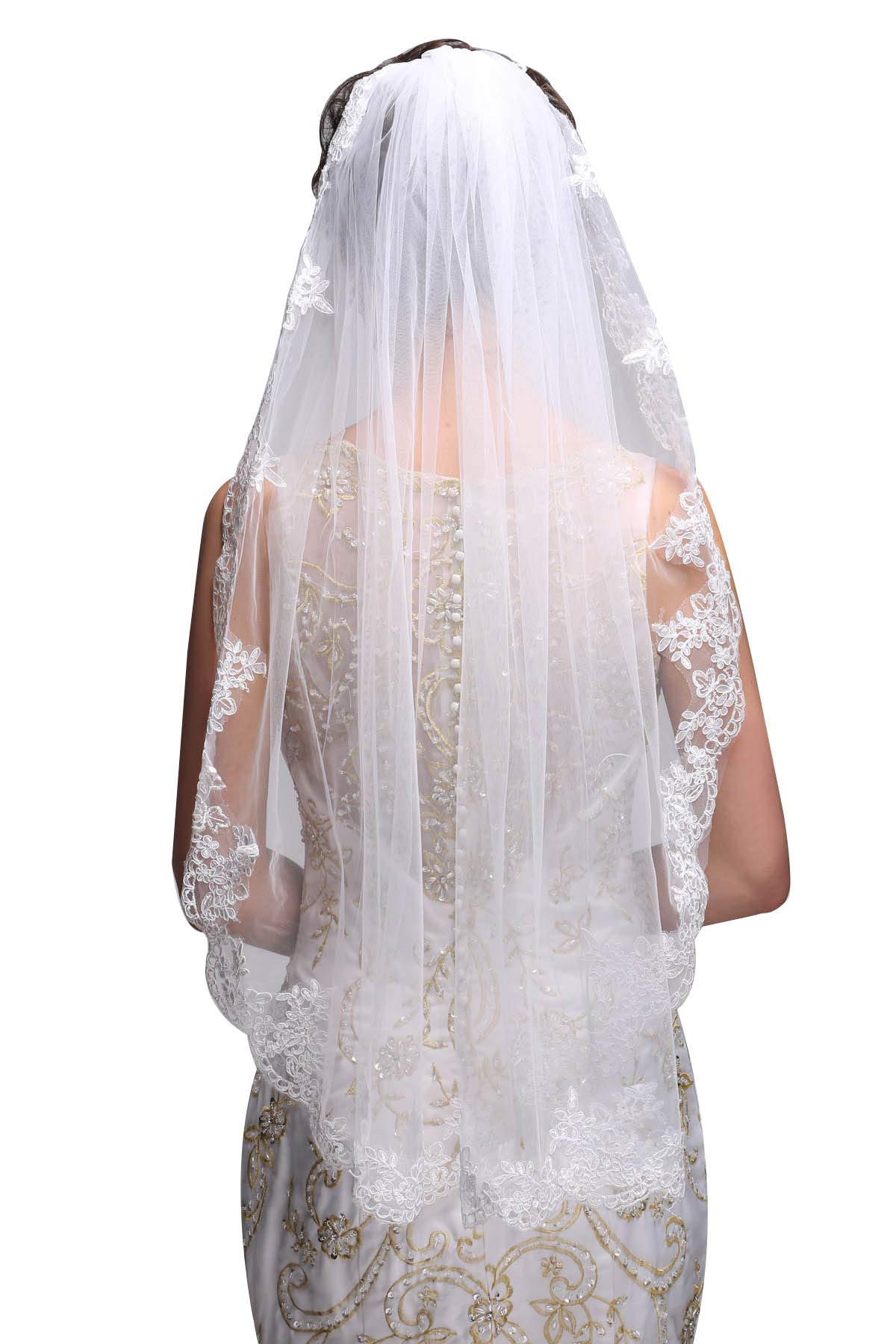 GEORGE BRIDE Simple Elegent Lace Appliques Wedding Veil One Size With Comb Ivory by GEORGE BRIDE