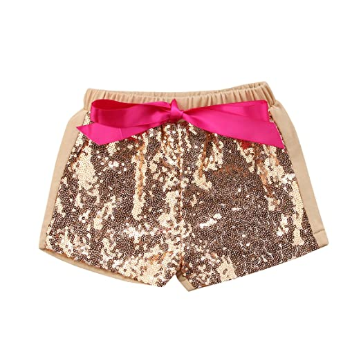 c1ac7cd1d Mubineo Toddle Baby Girl Little Girls Summer Sequin Cotton Shorts (Aprocit,  2T)
