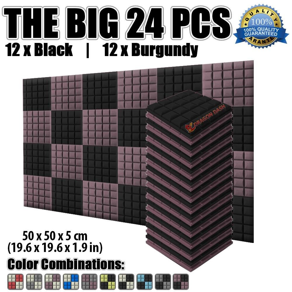 Dragon Dash 24 Pack of 20 X 20 X 5 cm Black and Burgundy Acoustic Soundproofing Hemisphere Grid Type Foam Studio Treatment Wall Panel Tiles DD1040 (BLACK & BURGUNDY)