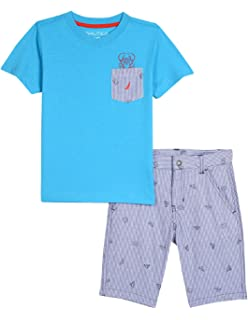 Nautica Boys Toddler Two Piece Set with Pocket Tee and Pull On Short
