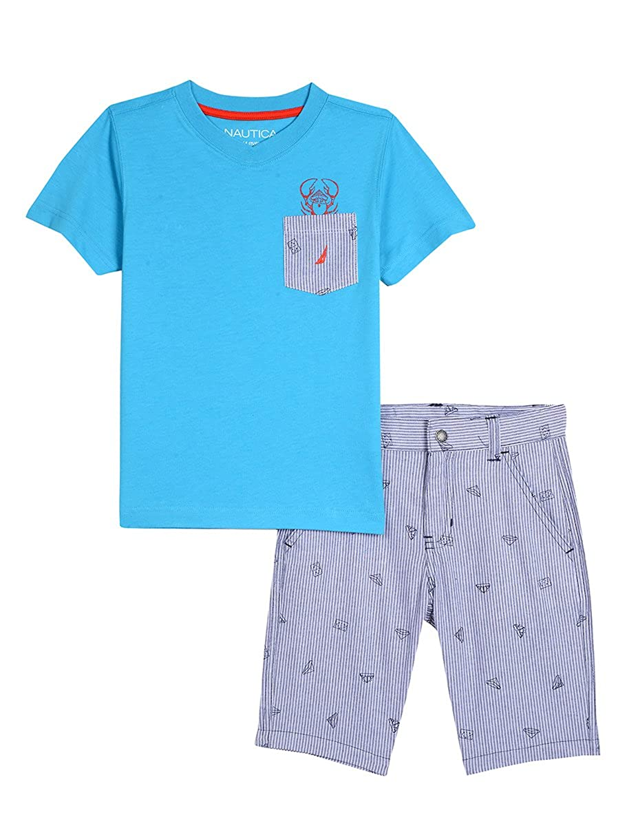 Nautica Boys' Toddler Two Piece Set with Pocket Tee and Pull On Short