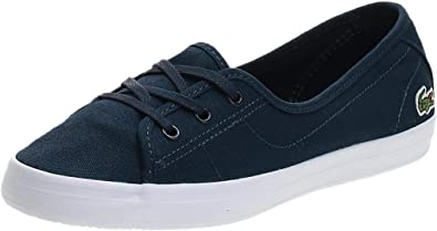 6 UK Lacoste Ziane Bl 2 Womens Black White Canvas Trainers